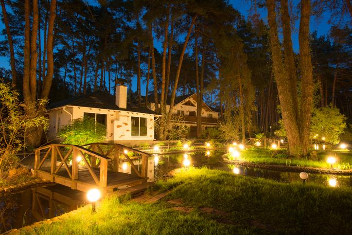 Peaceful illuminated backyard
