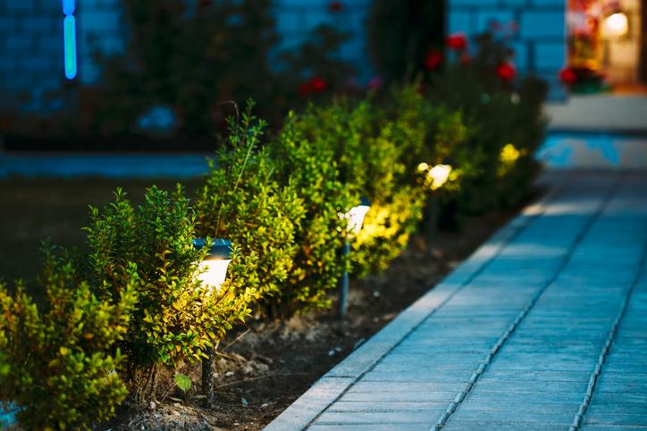 Stone walkway at night illuminated by path lighting